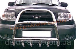 Защита переднего бампера кенгурятник высокий (нерж.) D60 на УАЗ Patriot