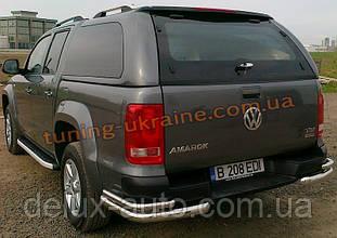 Защита заднего бампера уголки двойные D70-42 на Volkswagen Amarok 2010