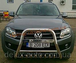 Защита переднего бампера кенгурятник высокий с надписью (нерж.) D60 на Volkswagen Amarok 2010