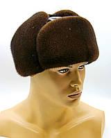 """Мужская меховая шапка ушанка """"Молодежка"""" из меха норки и кожи, коричневая пастель."""