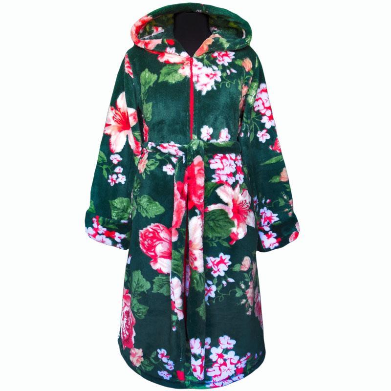 Халат махровый теплый зеленый в цветах