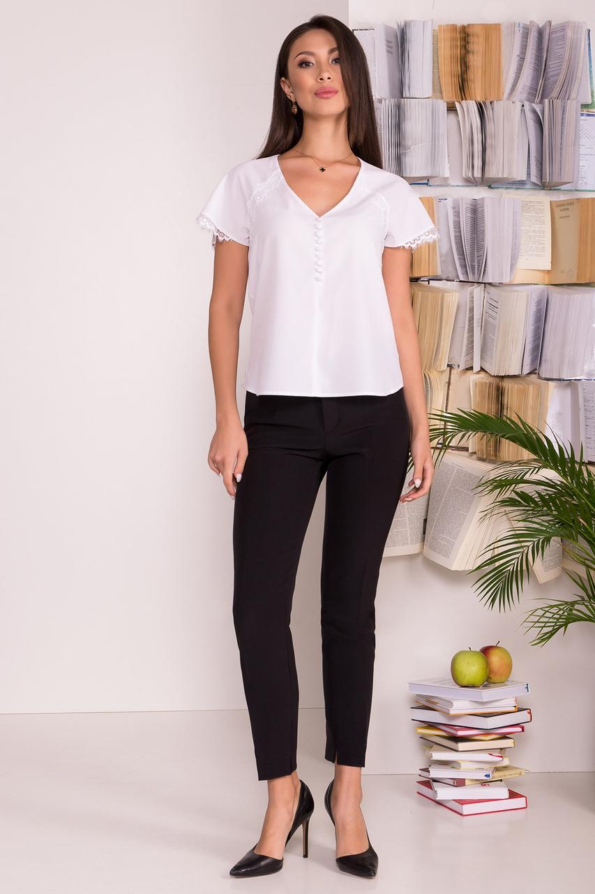 Нежная женская блуза с коротким рукавом (S, M, L, XL) белая