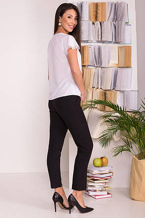 Нежная женская блуза с коротким рукавом (S, M, L, XL) белая, фото 2