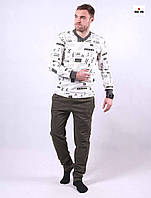 Піжама чоловіча трикотажна тепла хакі кофта зі штанами 44-52р.