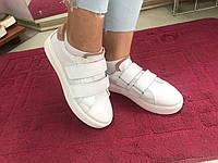 Кеды женские белые кожаные на липучках
