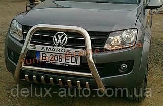 Защита переднего бампера кенгурятник высокий с надписью (нерж.) D70 на Volkswagen Amarok 2010