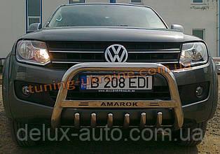 Защита переднего бампера кенгурятник низкий с надписью D60 на Volkswagen Amarok 2010
