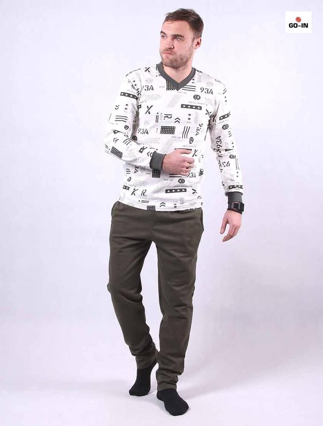 Пижама мужская трикотажная летняя хаки кофта со штанами