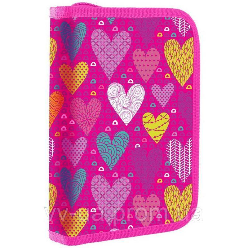 Пенал для школы твердый одинарный с клапаном 1 Вересня HP-03 Sweet heart (532702)