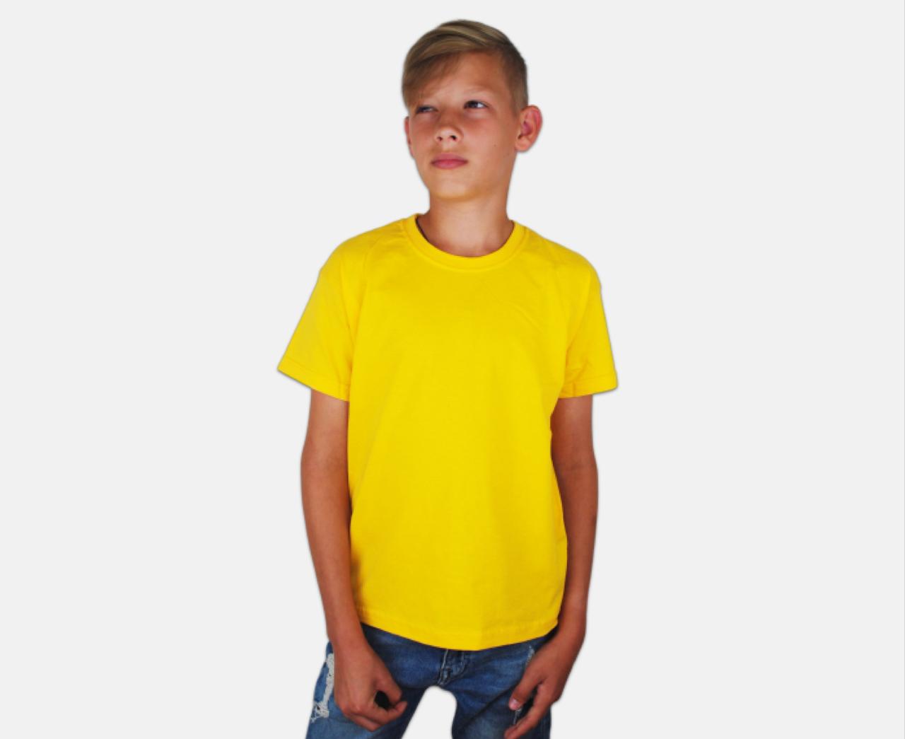 Детская Классическая Футболка для Мальчиков Солнечно-жёлтая Fruit of the loom 61-033-34 7-8