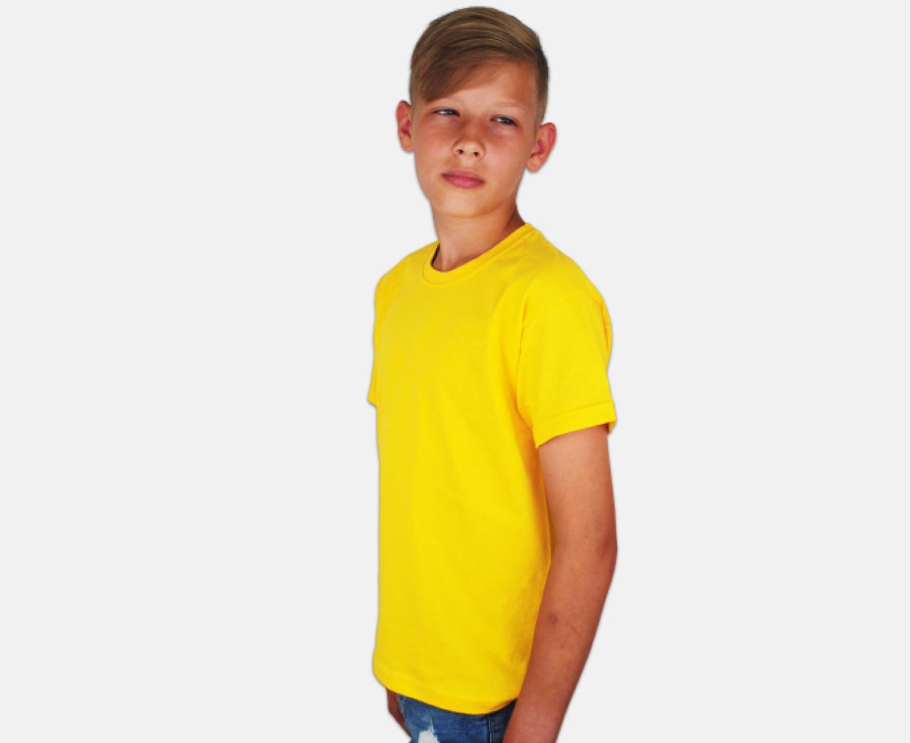 Детская Классическая Футболка для Мальчиков Солнечно-жёлтая Fruit of the loom 61-033-34 9-11