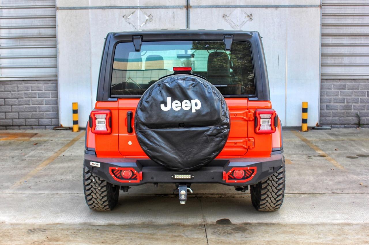 Силовой задний бампер с красными вставками Jeep Wrangler JL