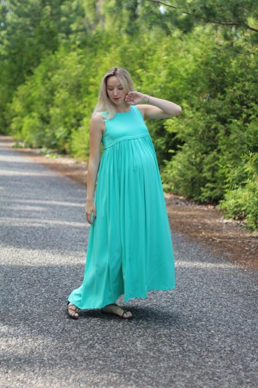 Сарафан длинный для беременных и кормящих мам HIGH HEELS MOM зелёный