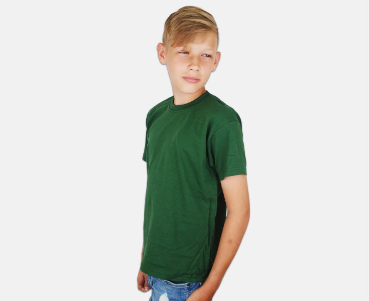 Детская Классическая Футболка для Мальчиков Тёмно-зелёная Fruit of the loom 61-033-38 12-13