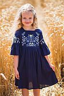 Вишита сукня для дівчинки Suzie Ляна льон синій