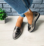 Стильные женские кожаные туфли балетки слипоны на низком ходу на танкетке никель S73VT13-1E