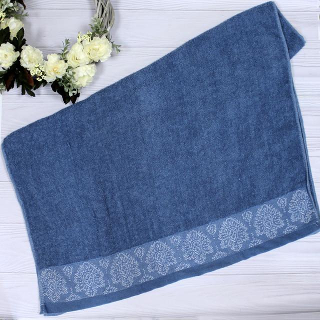 Махровое полотенце банное синее