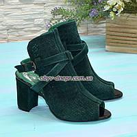 Женские замшевые босоножки на высоком устойчивом каблуке, цвет зеленый. 38 размер