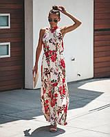 Женское длинное платье из шифона в цветочный принт