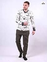 Пижама мужская трикотажная теплая хаки кофта со штанами 44-52р.