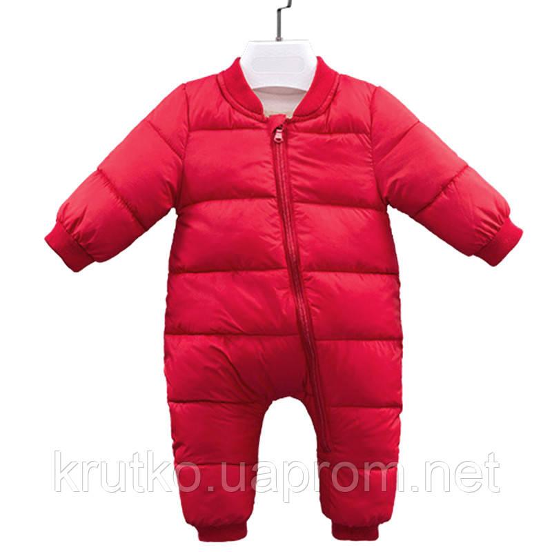 Детский утепленный демисезонный комбинезон Медвеженок, красный Berni