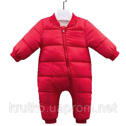 Детский утепленный демисезонный комбинезон Медвеженок, красный Berni, фото 2