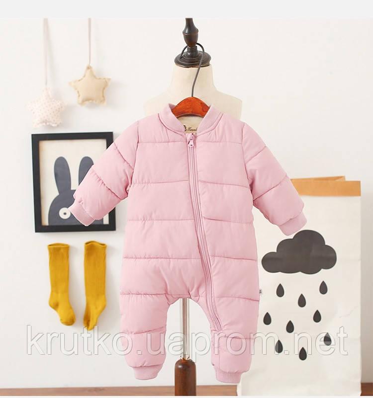 Утепленный демисезонный комбинезон для девочки Медвеженок, розовый Berni