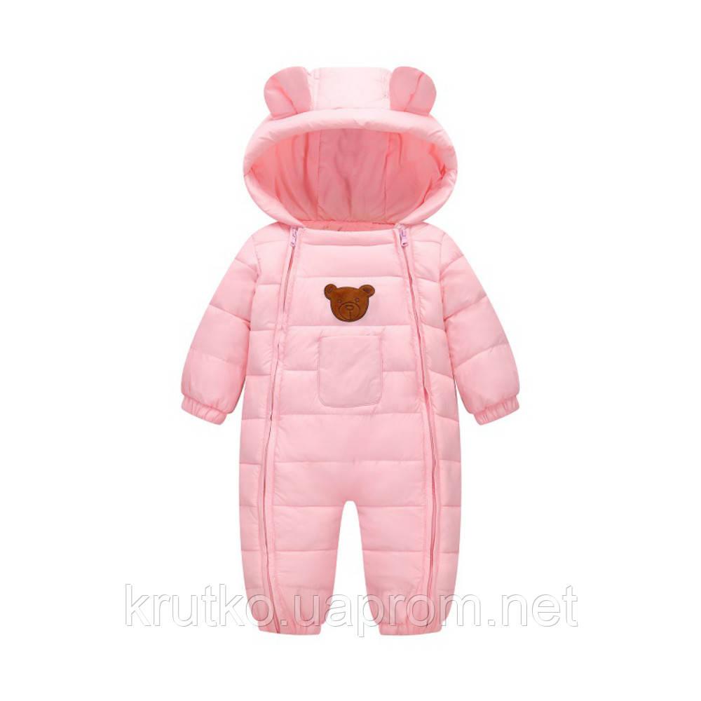 Демисезонный комбинезон для девочки Счастливый мишка, розовый Berni