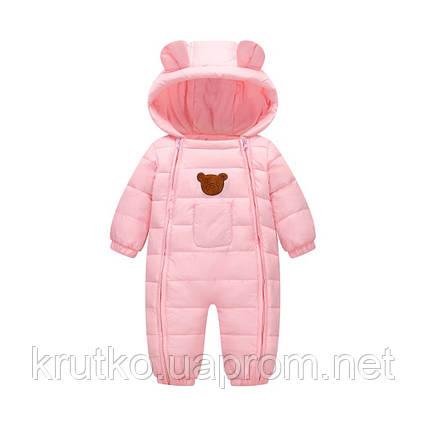 Демисезонный комбинезон для девочки Счастливый мишка, розовый Berni, фото 2