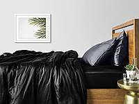 Комплект полуторного постельного белья сатин BLACK GREY-P