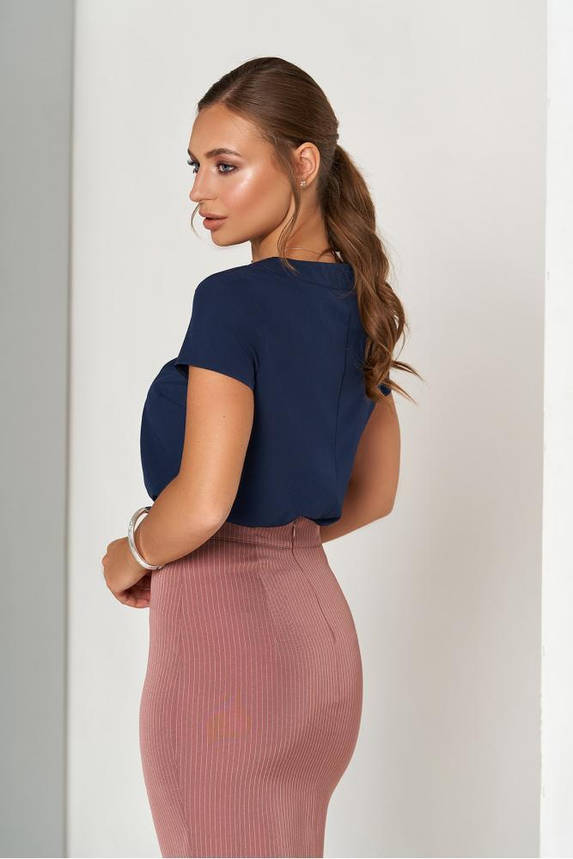 Синяя женская блузка в офисном стиле, фото 2