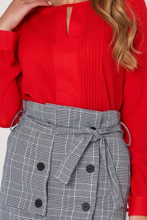 Красная шифоновая блузка в офисном стиле, фото 2