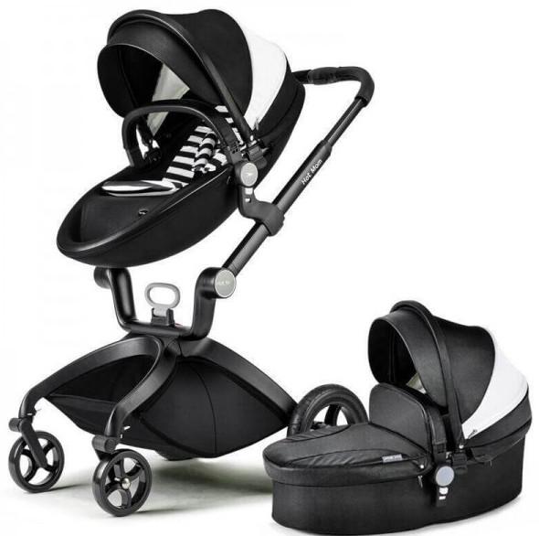 Универсальная коляска 2 в 1 Hot Mom Черная с белым (hub_tAJv18104)