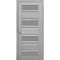 Дверь межкомнатная Венеция С2 жемчуг серебряный 600 мм со стеклом GR (графит).