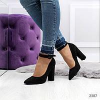 Женские туфли черные на каблуке с застежкой, фото 1