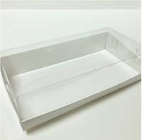 Прямоугольная коробка с пластиковой крышкой, 200х100х50 мм, белая