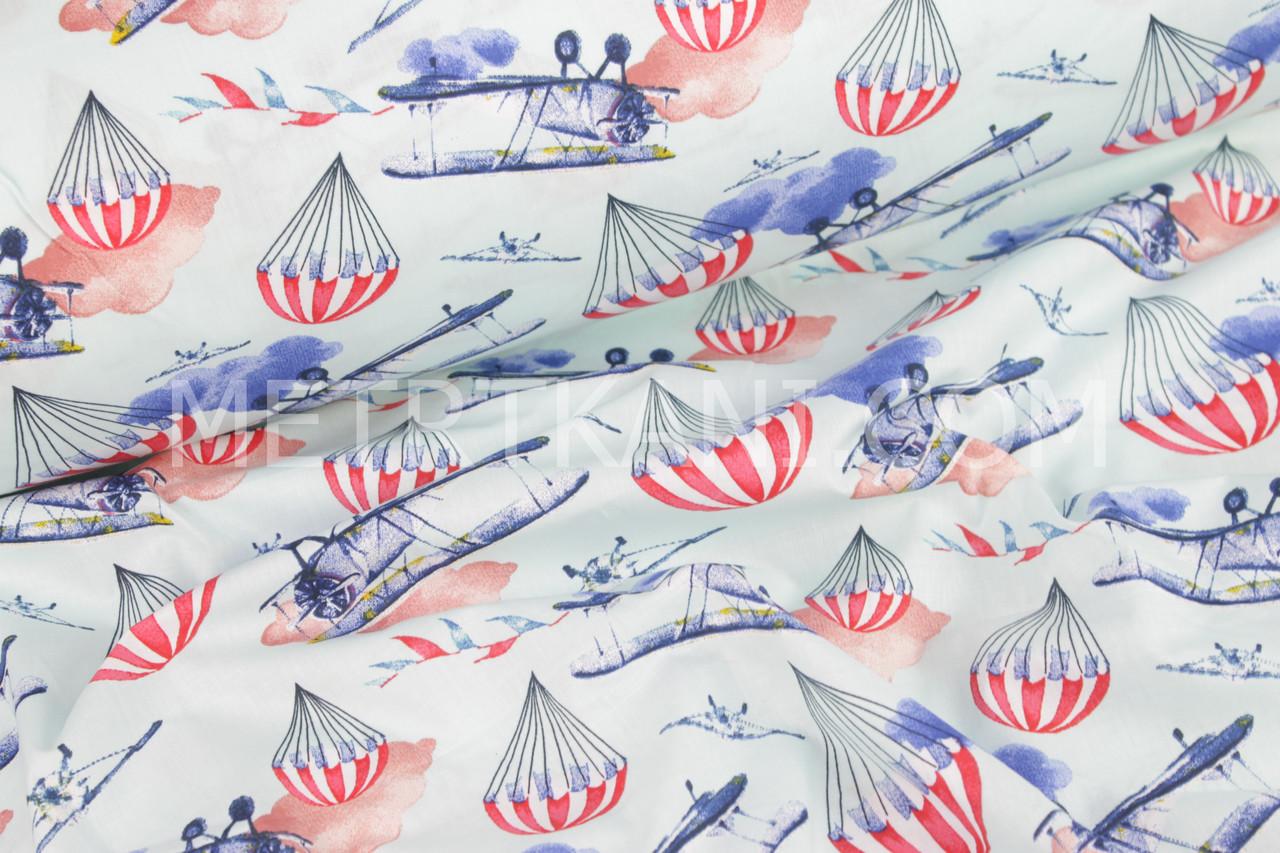 """Ткань хлопковая  """"Самолёты и полосатые парашюты"""" на лазурно-бирюзовому фоне №939"""