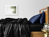 Комплект полуторного постельного белья сатин BLACK BLUE-P
