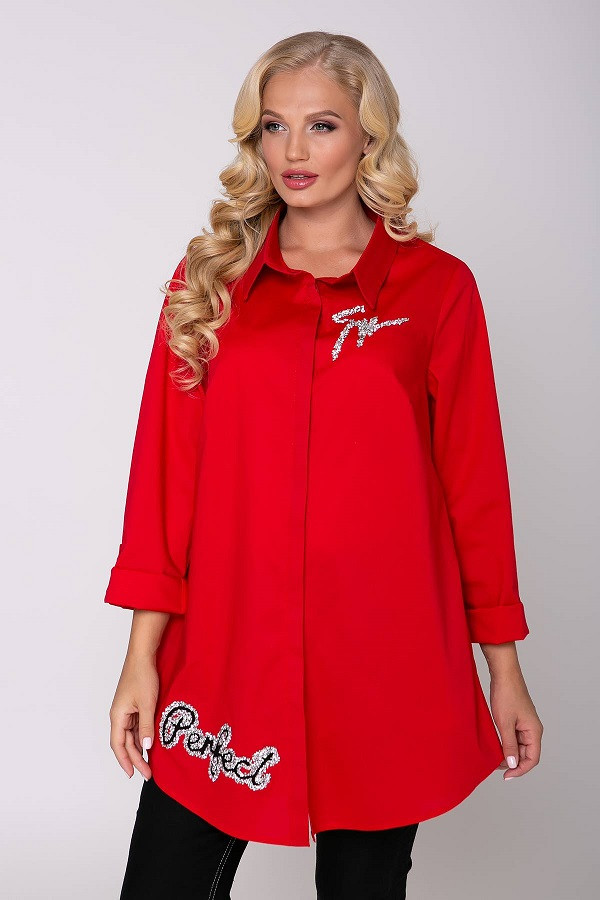 Длинная рубашка навыпуск Перфект красная (54-60)