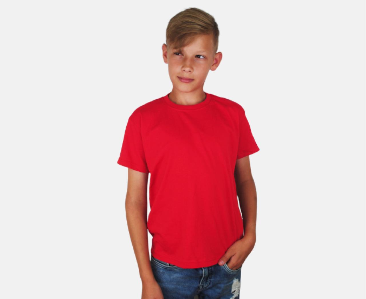 Детская Классическая Футболка для Мальчиков Красная Fruit of the loom 61-033-40 12-13