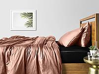 Комплект полуторного постельного белья сатин BEIGE BLACK-S
