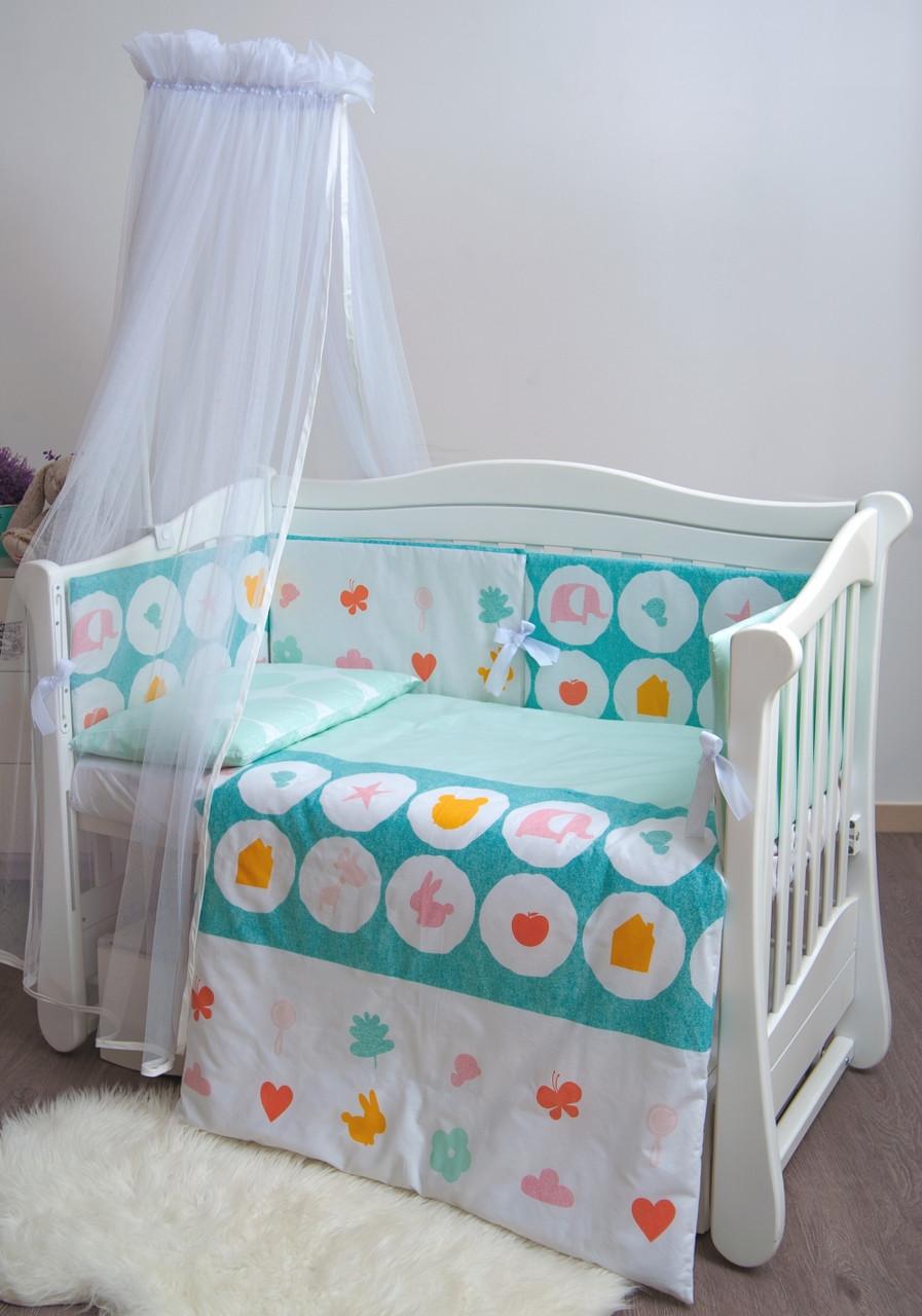 Детское постельное белье Twins Eco Line New E-021 Animals mint 6 эл
