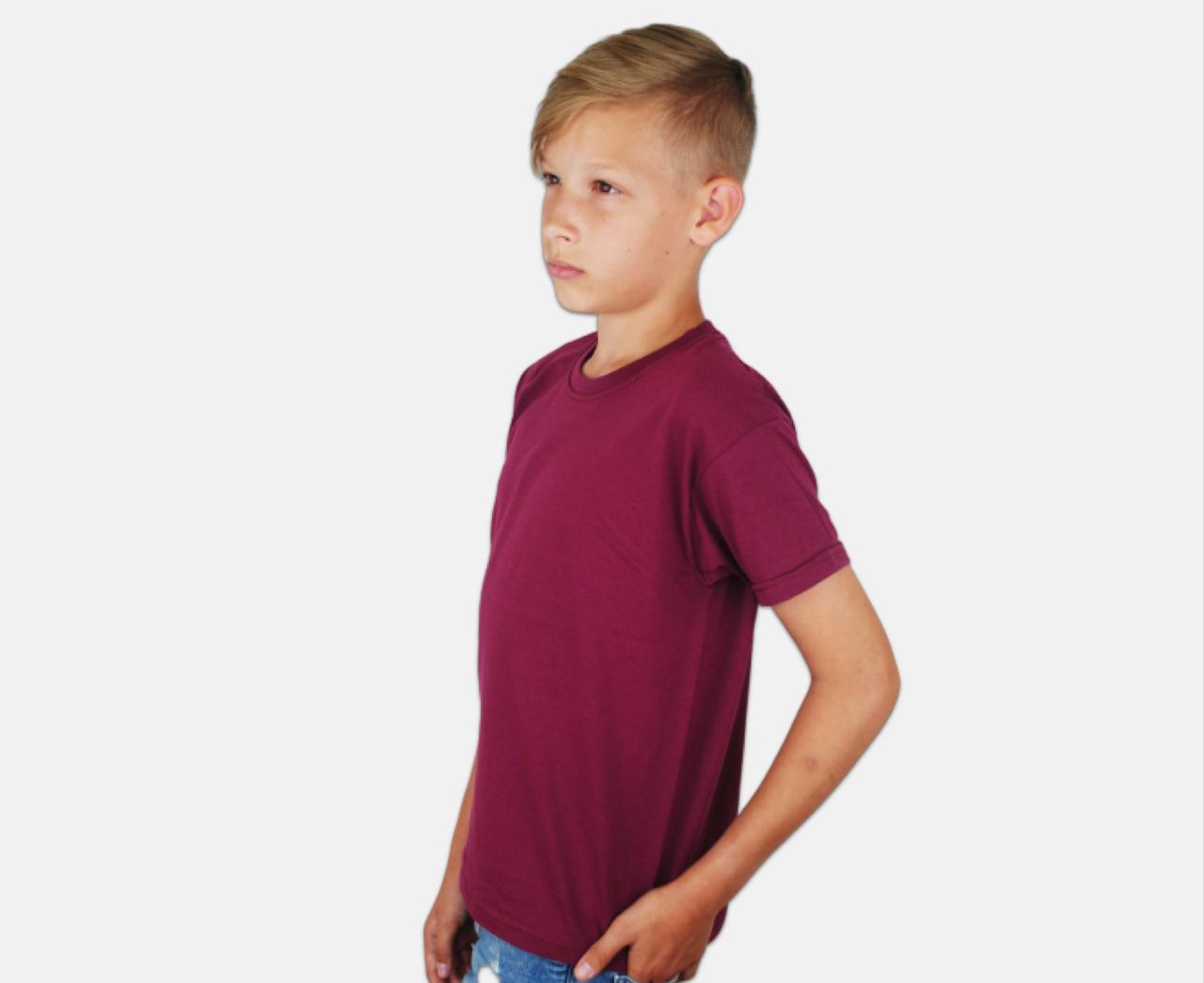 Детская Классическая Футболка для Мальчиков Бордовая 61-033-41 3-4