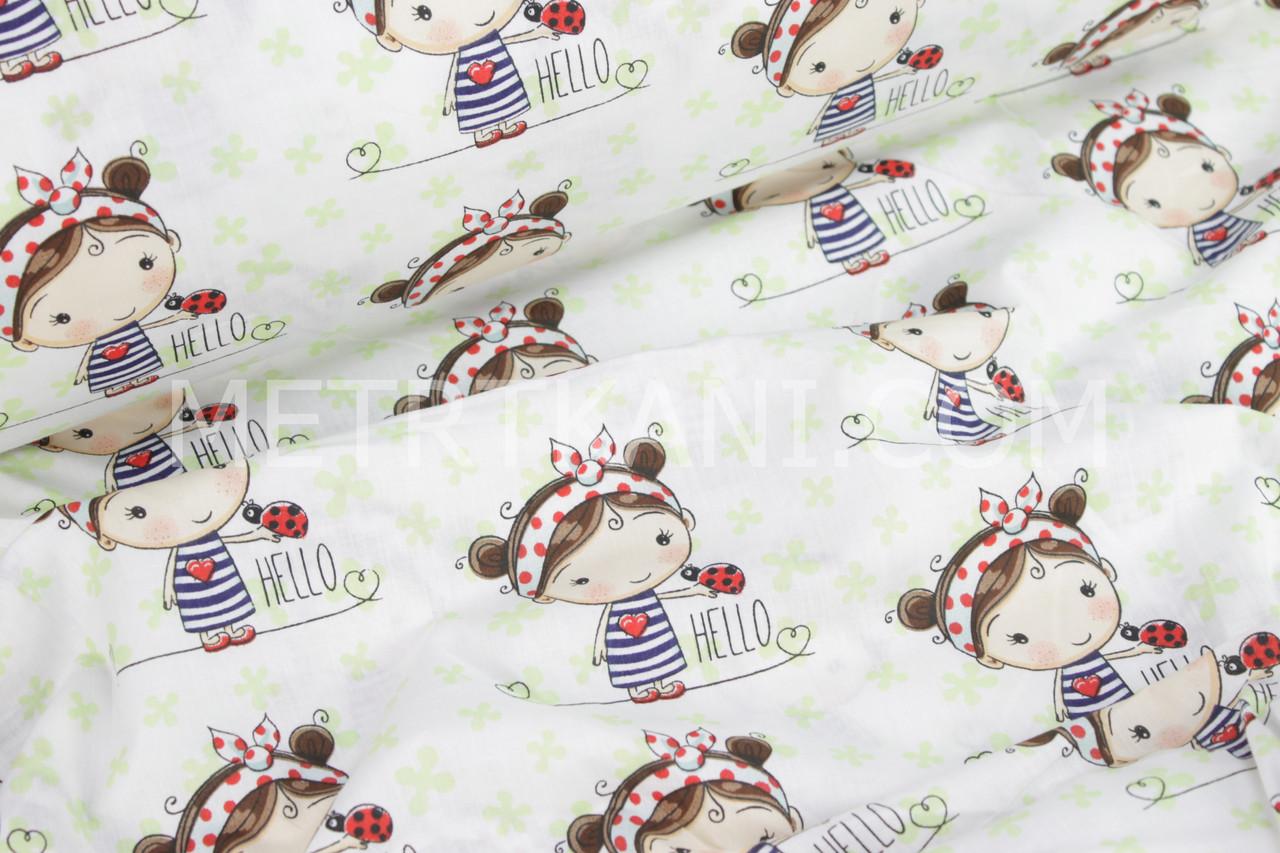 Ткань бязь с девочкой в салатовых цветах на белом фоне  №998