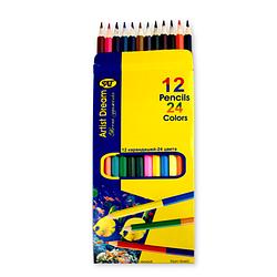 Карандаши цветные 12шт двухсторонние 24цвета Artist Dream DB-12