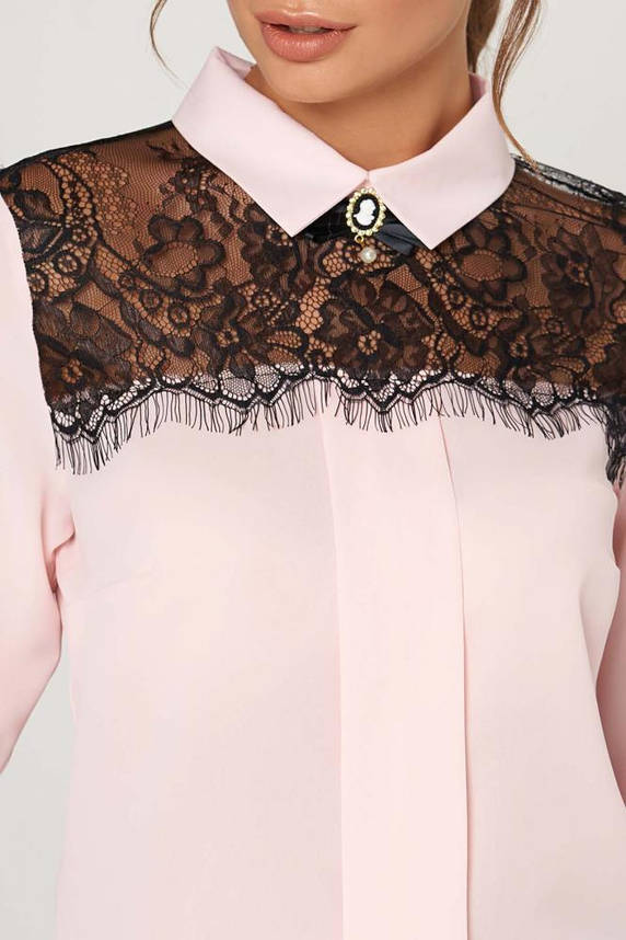 Нарядная блузка с гипюром цвета пудра, фото 2