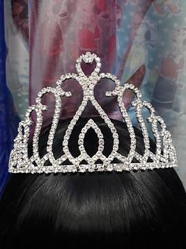 Срібна велика корона тіара з білими каменями гірський кришталь 9 см