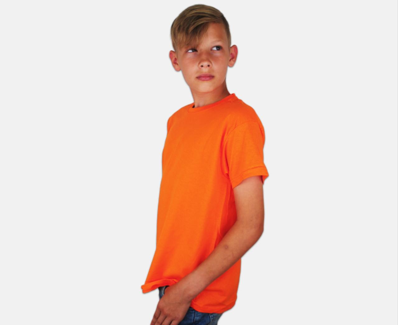 Детская Классическая Футболка для Мальчиков Оранжевая Fruit of the loom 61-033-44 5-6