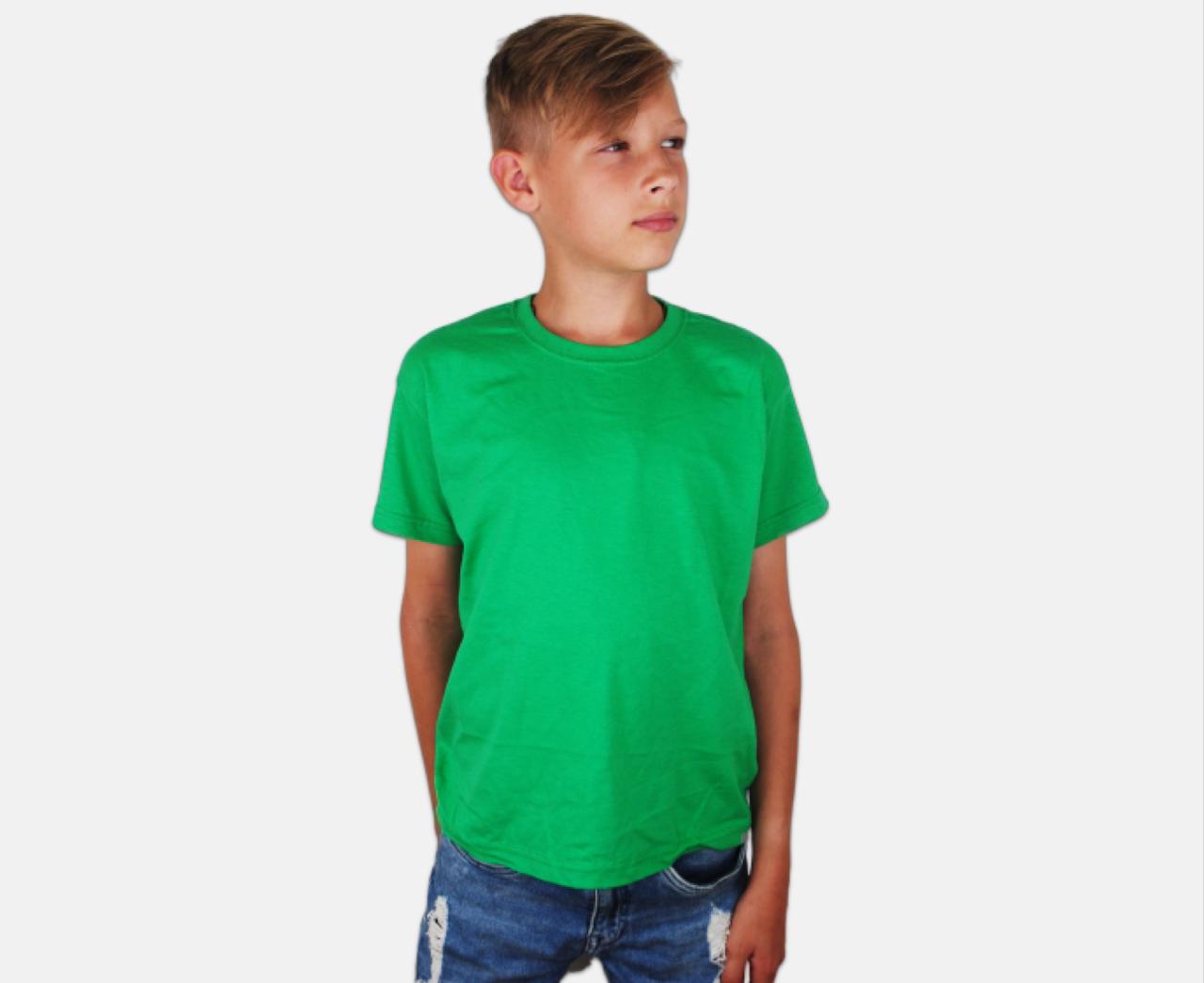 Детская Классическая Футболка для Мальчиков Ярко-зелёная Fruit of the loom 61-033-47 5-6
