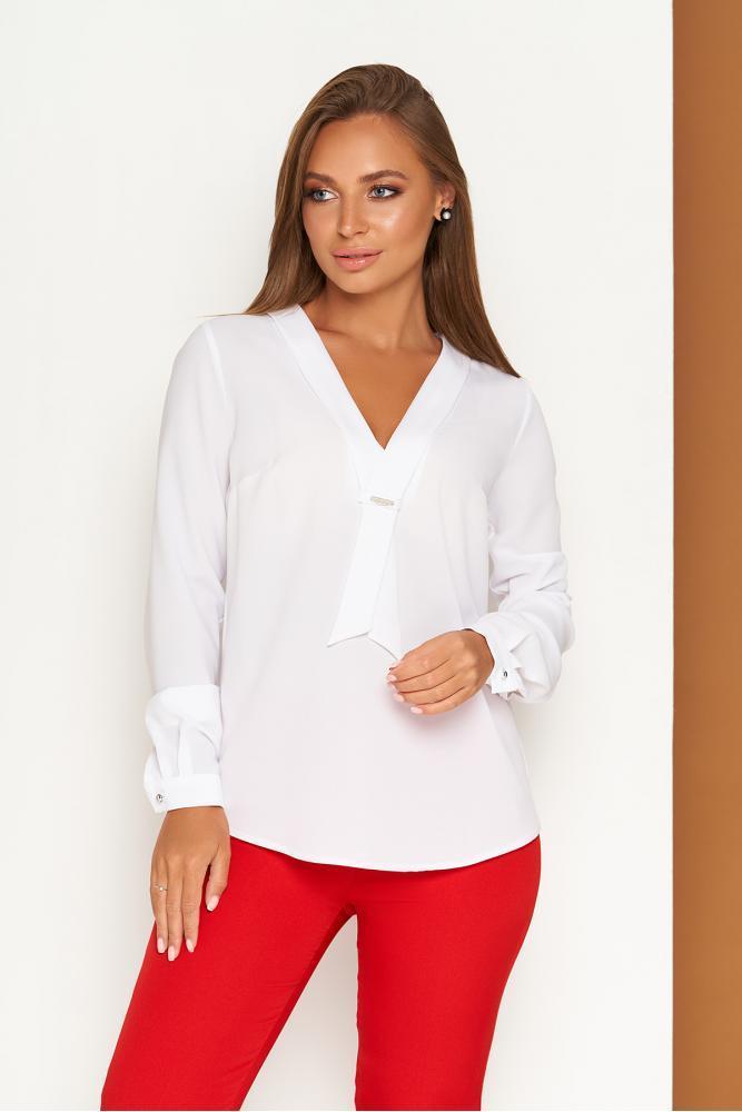 Элегантная белая офисная блузка с завязкой